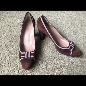 L.K.Bennett maroon suede heels with lilac detail
